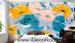 Abstract Blue Yellow Flowers 000007 Wallpaper Wall Decals Wall Art Print Mural Home Decor Gift Office Business