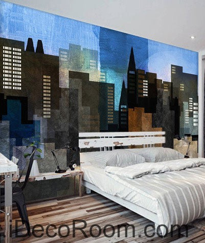 Abstract City Night 000009 Wallpaper Wall Decals Wall Art Print Mural Home  Decor Gift Office Business Part 69