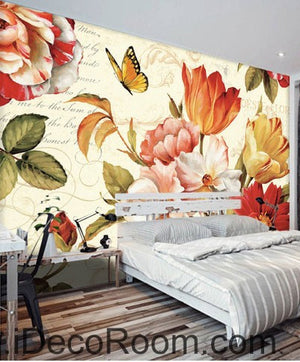 Vintage Tulip Flowers 000011 Wallpaper Wall Decals Wall Art Print Mural Home Decor Gift Office Business