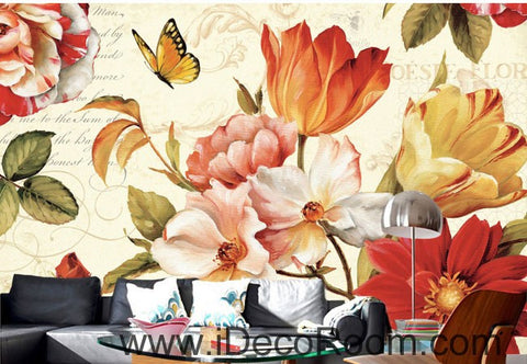 Image of Vintage Tulip Flowers 000011 Wallpaper Wall Decals Wall Art Print Mural Home Decor Gift Office Business