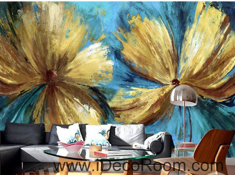Image of Abstract Golden Flowers 000017 Wallpaper Wall Decals Wall Art Print Mural Home Decor Gift Office Business