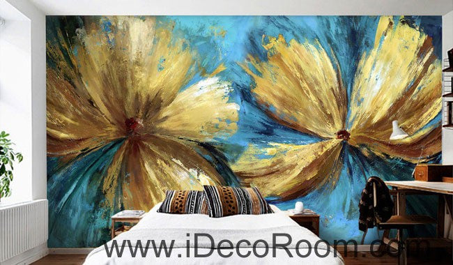Abstract Golden Flowers 000017 Wallpaper Wall Decals Wall Art Print Mural Home Decor Gift Office Business