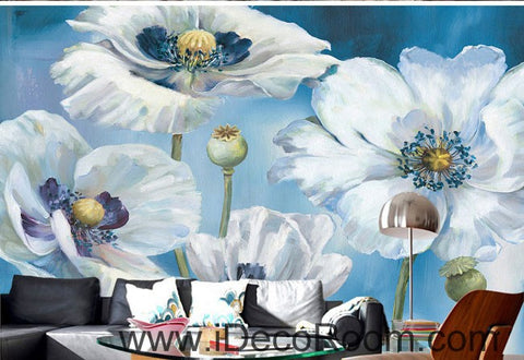 Image of White Flowers Oilpainting 000019 Wallpaper Wall Decals Wall Art Print Mural Home Decor Gift Office Business