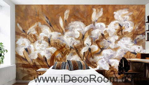 Image of White Orchid Abstact Mordern Art 000021 Wallpaper Wall Decals Wall Art Print Mural Home Decor Gift Office Business