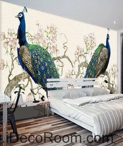 Peacock on Peach Blossom Tree 000023 Wallpaper animals Wall Decals