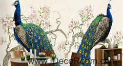 Peacock on Peach Blossom Tree 000023 Wallpaper animals Wall Decals Wall Art Print Mural Home Decor Gift Office Business