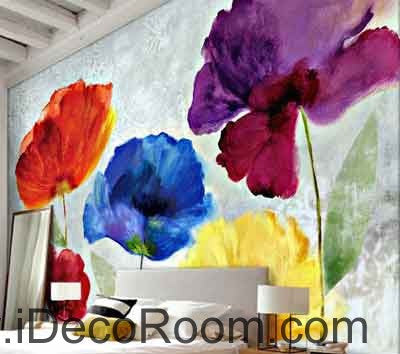 Abstract Watercolor Red Blue Purple Flower Wallpaper Wall Decals Wall Art Print Mural Home Decor Gift Office Business