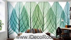 Transparant Tree Leaves Watercolor Wallpaper Wall Decals Wall Art Print Mural Home Decor Gift Office Business