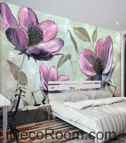Image of Large Purple Flower Wallpaper Wall Decals Wall Art Print Mural Home Decor Gift Office Business