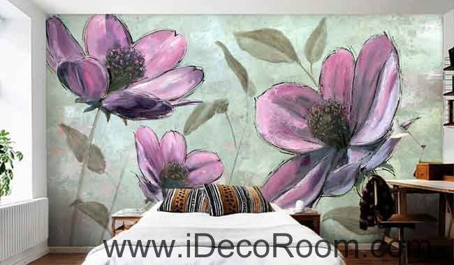Large Purple Flower Wallpaper Wall Decals Wall Art Print Mural Home Decor Gift Office Business