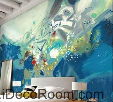 Image of Abstract Blue Ocean Wave Wallpaper Wall Decals Wall Art Print Mural Home Decor Gift Office Business