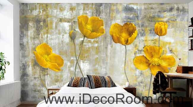 Vintage Golden Poppy Flower Painting Wallpaper Wall Decals