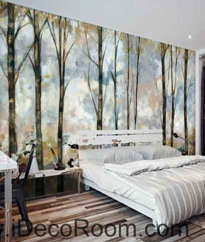 Vintage Forest Oil Painting Wallpaper Wall Decals Wall Art Print Mural Home Decor Gift Office Business