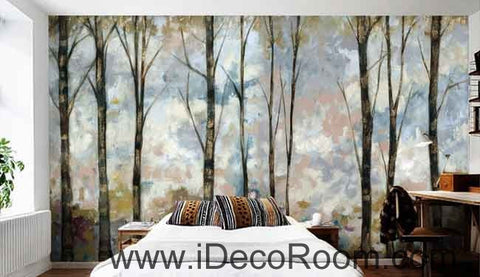 Image of Vintage Forest Oil Painting Wallpaper Wall Decals Wall Art Print Mural Home Decor Gift Office Business