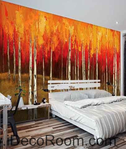 Autumn Fall Forest Tree Oil Painting Wallpaper Wall Decals Wall Art