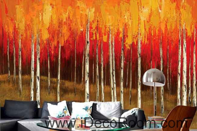 Autumn Fall Forest Tree Oil Painting Wallpaper Wall Decals Wall Art Print Mural Home Decor Gift Office Business