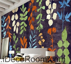 Colorful vine leave flower IDCWP-00032 Wallpaper Wall Decals Wall Art Print Mural Home Decor Gift