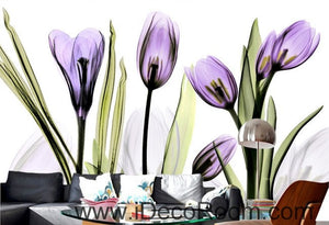 Watercoler purple flower illustration IDCWP-000033 Wallpaper Wall Decals Wall Art Print Mural Home Decor Gift