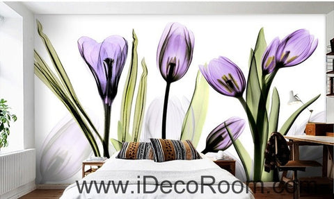 Image of Watercoler purple flower illustration IDCWP-000033 Wallpaper Wall Decals Wall Art Print Mural Home Decor Gift
