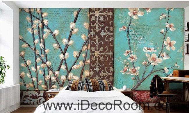 White flower illustration IDCWP-000035 Wallpaper Wall Decals Wall Art Print Mural Home Decor Gift