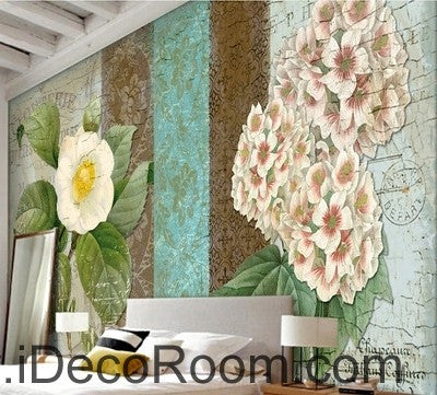 White flower illustration IDCWP-000036 Wallpaper Wall Decals Wall Art Print Mural Home Decor Gift