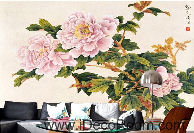 Pink flower illustration IDCWP-000037 Wallpaper Wall Decals Wall Art Print Mural Home Decor Gift
