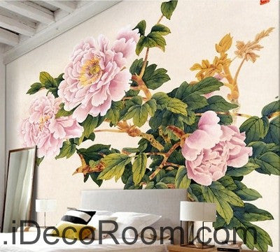 Image of Pink flower illustration IDCWP-000037 Wallpaper Wall Decals Wall Art Print Mural Home Decor Gift