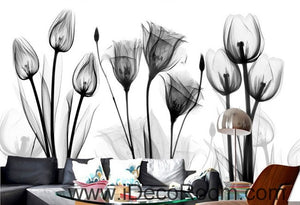 White and black flower illustration IDCWP-000038 Wallpaper Wall Decals Wall Art Print Mural Home Decor Gift