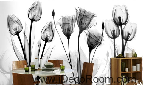 Image of White and black flower illustration IDCWP-000038 Wallpaper Wall Decals Wall Art Print Mural Home Decor Gift