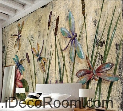 Water lily dragonfly flower illustration IDCWP-000039 Wallpaper Wall Decals Wall Art Print Mural Home Decor Gift