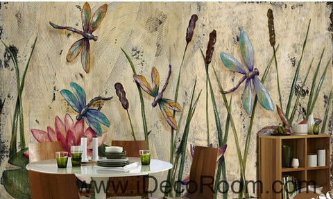 Image of Water lily dragonfly flower illustration IDCWP-000039 Wallpaper Wall Decals Wall Art Print Mural Home Decor Gift