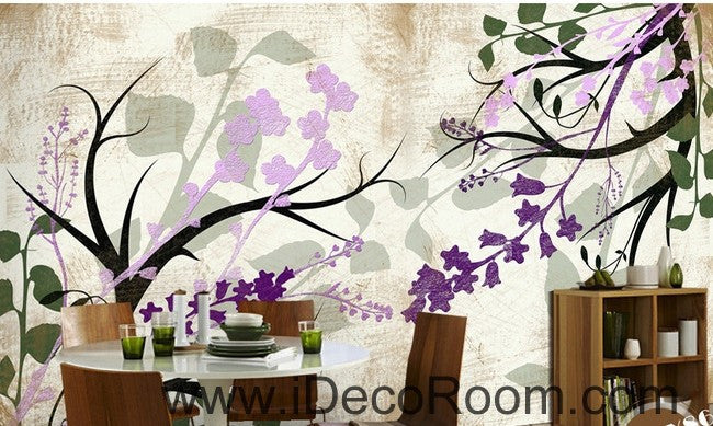 Colorful purple flower illustration IDCWP-000041 Wallpaper Wall Decals Wall Art Print Mural Home Decor Gift