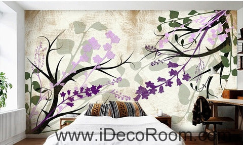 Image of Colorful purple flower illustration IDCWP-000041 Wallpaper Wall Decals Wall Art Print Mural Home Decor Gift