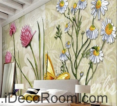 Image of Colorful red flower illustration IDCWP-000042 Wallpaper Wall Decals Wall Art Print Mural Home Decor Gift