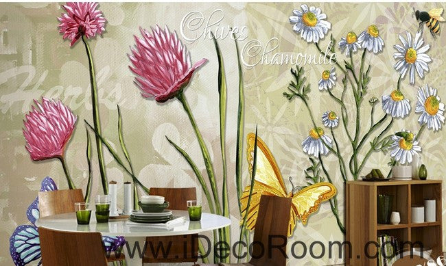 Colorful red flower illustration IDCWP-000042 Wallpaper Wall Decals Wall Art Print Mural Home Decor Gift