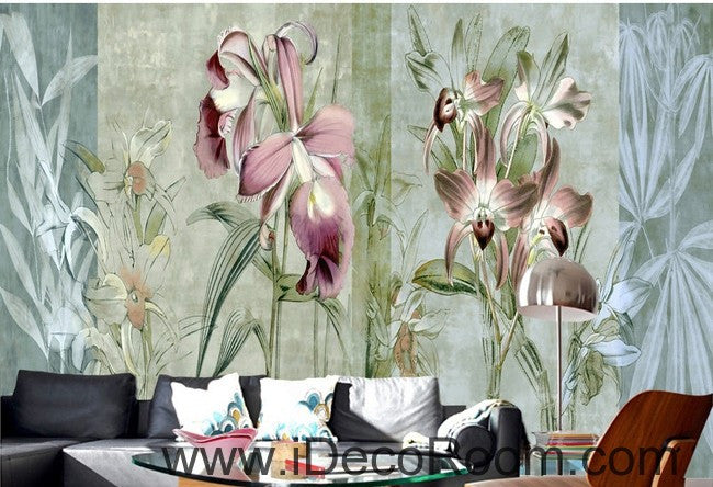 Colorful flower illustration IDCWP-000043 Wallpaper Wall Decals Wall Art Print Mural Home Decor Gift