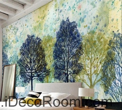 Image of Colorful tree illustration IDCWP-000044 Wallpaper Wall Decals Wall Art Print Mural Home Decor Gift
