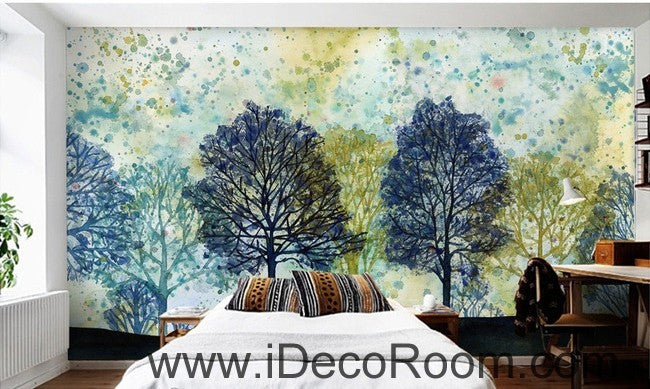 Colorful tree illustration IDCWP-000044 Wallpaper Wall Decals Wall Art Print Mural Home Decor Gift