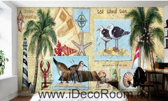 Coconut tree beach IDCWP-000045 Wallpaper Wall Decals Wall Art Print Mural Home Decor Gift