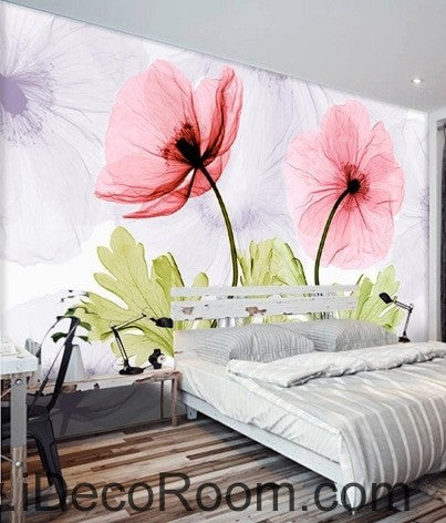 Colorful red flower illustration idcwp 000047 wallpaper wall decals wall art print mural home decor