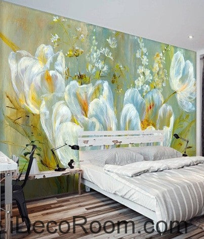 Colorful White Flower Illustration IDCWP 000048 Wallpaper Wall Decals Wall  Art Print Mural Home Decor Part 39