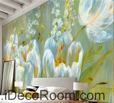 Image of Colorful white flower illustration IDCWP-000048 Wallpaper Wall Decals Wall Art Print Mural Home Decor Gift