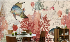 Tropical Fish stamp IDCWP-000049 Wallpaper Wall Decals Wall Art Print Mural Home Decor Gift