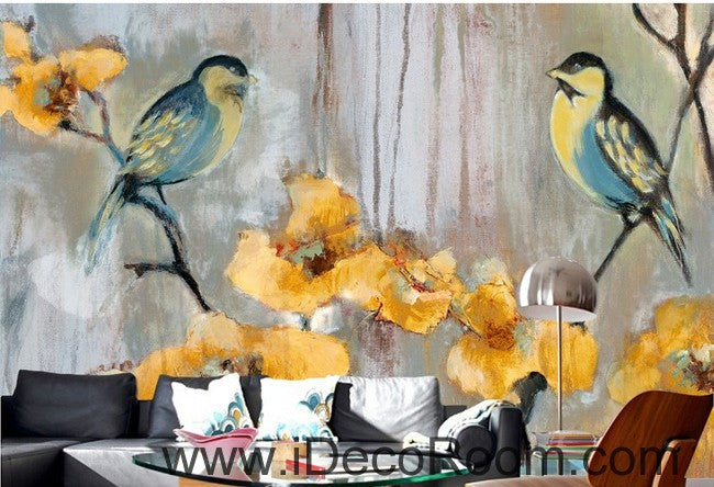 Birds Branch Yellow Flower Illustration IDCWP-000051 Wallpaper Wall Decals Wall Art Print Mural Home Decor Gift
