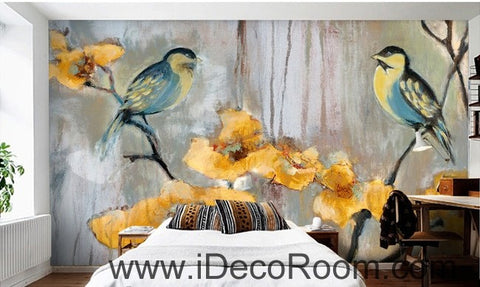 Image of Birds Branch Yellow Flower Illustration IDCWP-000051 Wallpaper Wall Decals Wall Art Print Mural Home Decor Gift