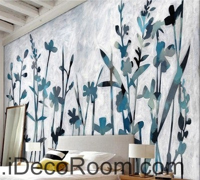 Blue Wild Flower Grass Modern Art IDCWP-000052 Wallpaper Wall Decals Wall Art Print Mural Home Decor Gift
