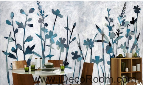 Image of Blue Wild Flower Grass Modern Art IDCWP-000052 Wallpaper Wall Decals Wall Art Print Mural Home Decor Gift