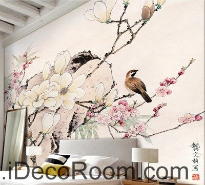 Flower Blooming Birds Rock Japaness Style IDCWP-000055 Wallpaper Wall Decals Wall Art Print Mural Home Decor Gift