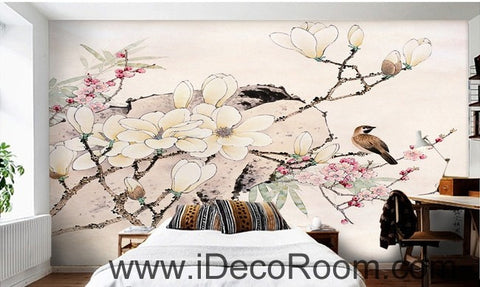 Image of Flower Blooming Birds Rock Japaness Style IDCWP-000055 Wallpaper Wall Decals Wall Art Print Mural Home Decor Gift