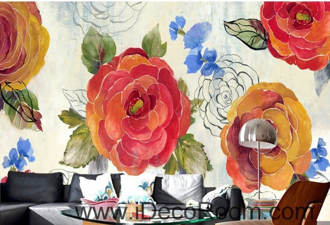 Vintage Camellia Flower IDCWP-000056 Wallpaper Wall Decals Wall Art Print Mural Home Decor Gift